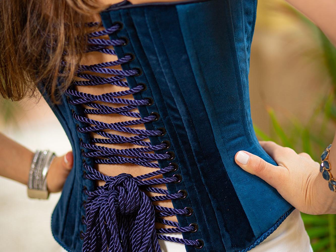 Stella in blue corset